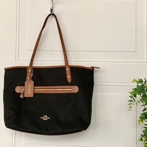 Coach sawyer purse poly twill & leather tote black